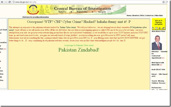 Website Hacked of C.B.I. By 'Pak Cyber Army' | Crazy's Blog